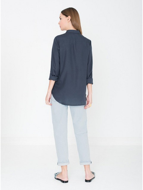 MISS GREEN | Blouse Tencel Blauw from Wolf and Storm