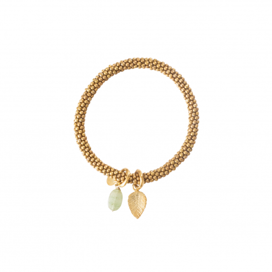 A Beautiful Story | Jacky Aventurine Leaf Gold Bracelet