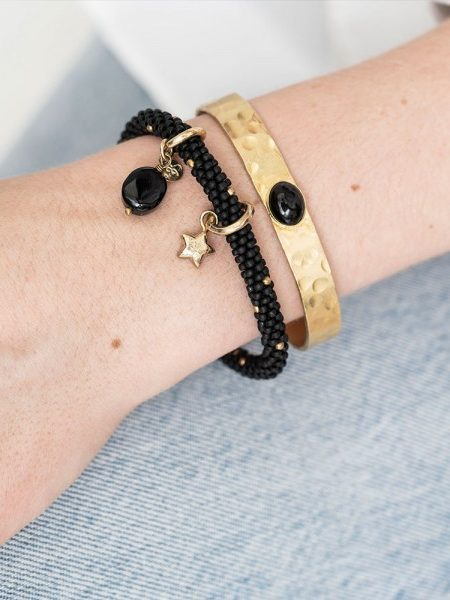 A Beautiful Story | Jacky Multicolor Onyx Star Gold Bracelet