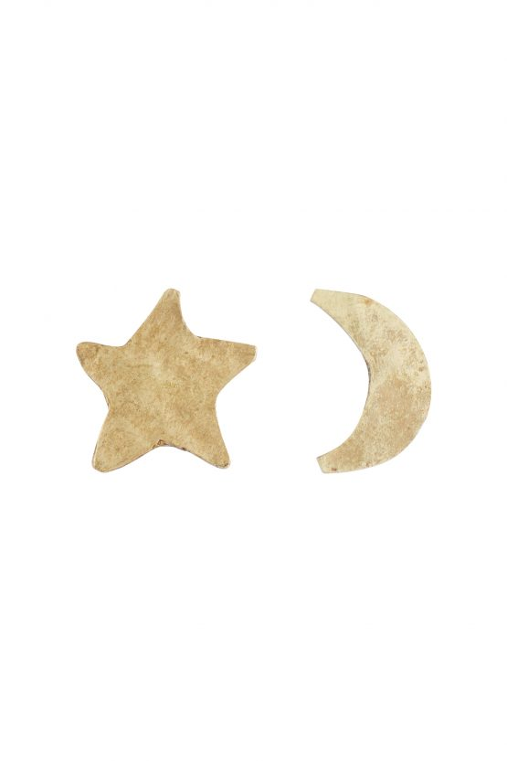 Star and moon stud earrings brass