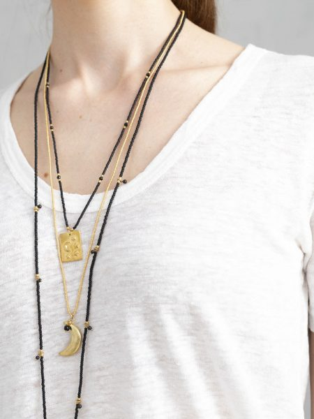 A Beautiful Story   Paradise Black Onyx Moon Gold Necklace