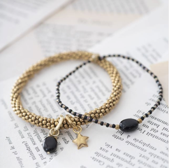 A Beautiful Story |  Sieraden Set Onyx Star Gold Black★
