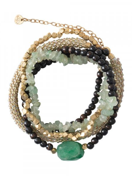 A Beautiful Story | Superwrap Aventurine Gold Bracelet