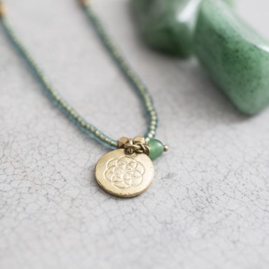 A Beautiful Story | Truly Adventurine Flower of Life Gold Necklace