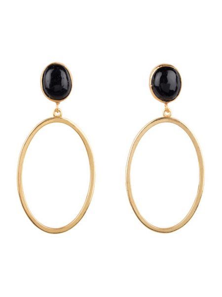 HINTH | Oval Stone Small Gouden Oorbellen Onyx