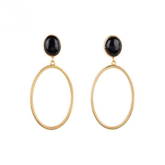 HINTH | Oval Stones Small Gouden Oorbellen Onyx