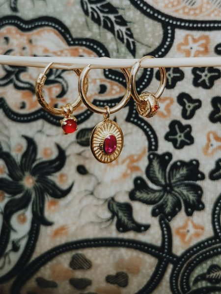 TAJ | Single Carnelian Earring Harmonia Gold Plated