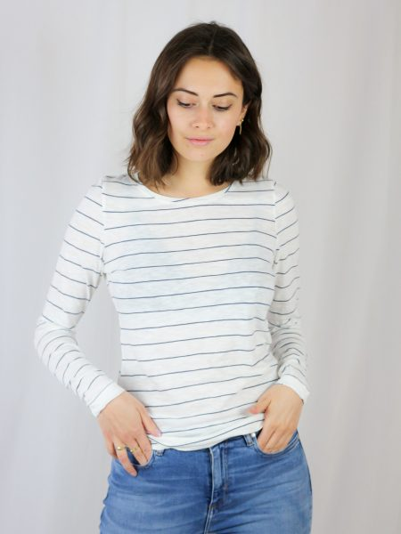 Armedangels | Karaa Stripes Oatmilk Foggyblue