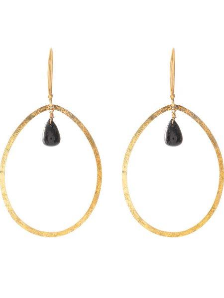 A Beautiful Story | Ellipse Black Onyx Gold Earrings