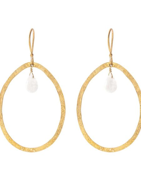 A Beautiful Story | Ellipse Moonstone Gold Earrings