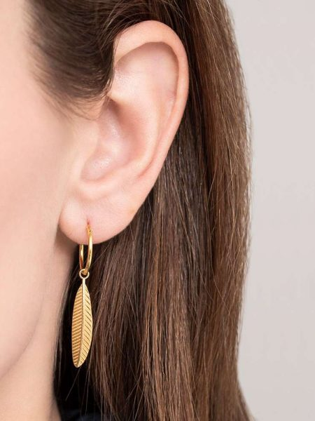 A Beautiful Story | Feather Sterling Silver Gold Plated Hoop Earring