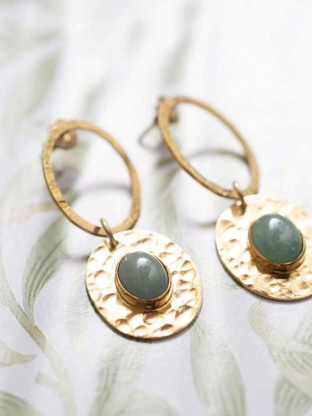 A Beautiful Story | Thankful Aventurine Gold Earrings