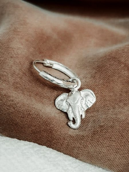 TAJ | Single Lucky Elephant Earring Charis Zilver